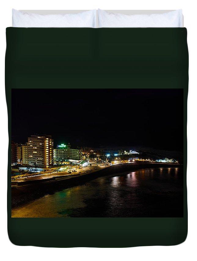 Lehto Duvet Cover featuring the photograph Puerto De La Cruz By Night by Jouko Lehto