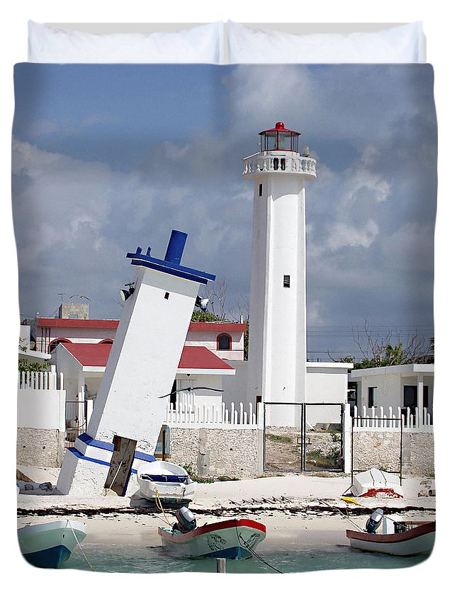 Puerto Morelos Lighthouse Duvet Cover featuring the photograph Puerto Morelos Lighthouse by Ellen Henneke