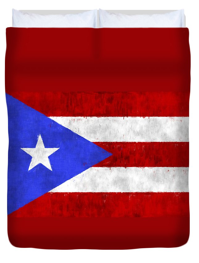 Aruba Duvet Cover Featuring The Digital Art Puerto Rico Flag By World Prints And Designs