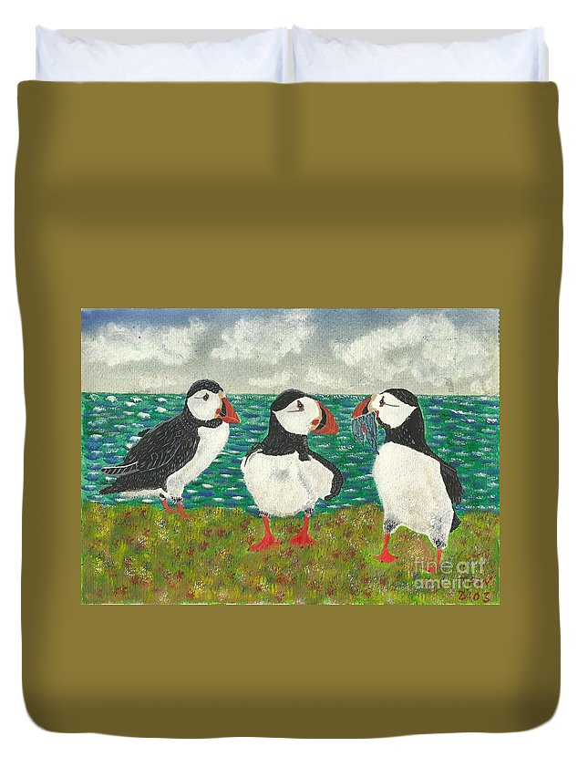 Puffins Duvet Cover featuring the painting Puffin Island by John Williams