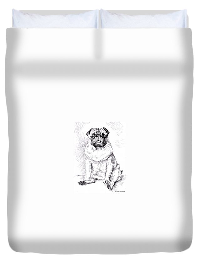 Dog Duvet Cover featuring the drawing Pug Anton by Nicole Zeug