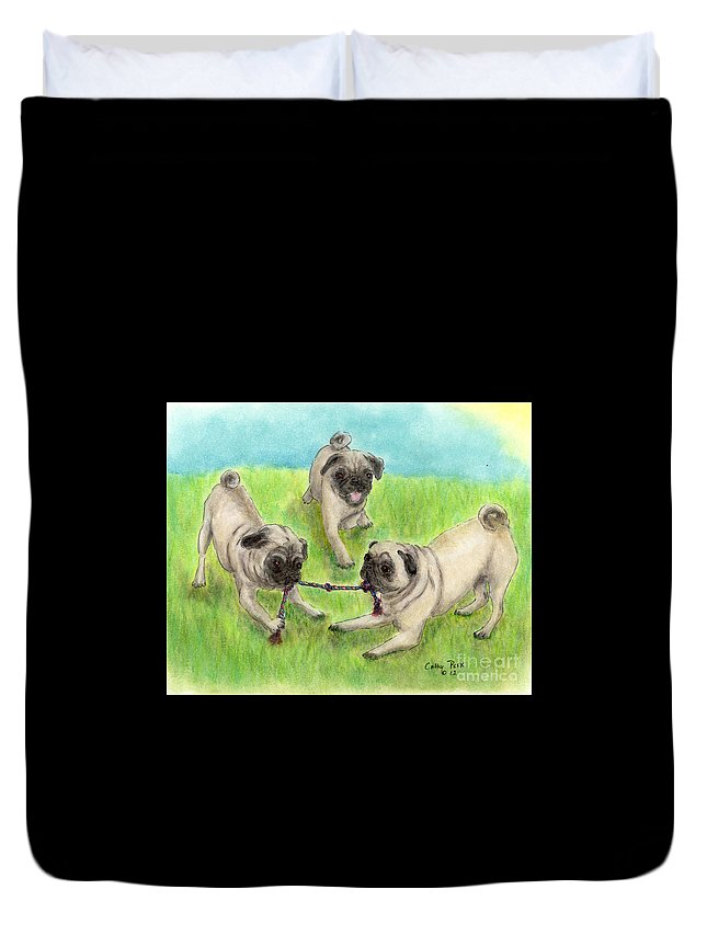Playful Duvet Cover featuring the painting Pug Dog Playing Canine Animal Pets Art by Cathy Peek
