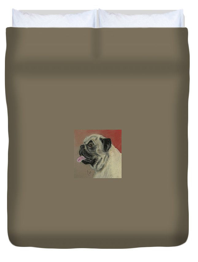 Pug Duvet Cover featuring the drawing Pugster by Cori Solomon