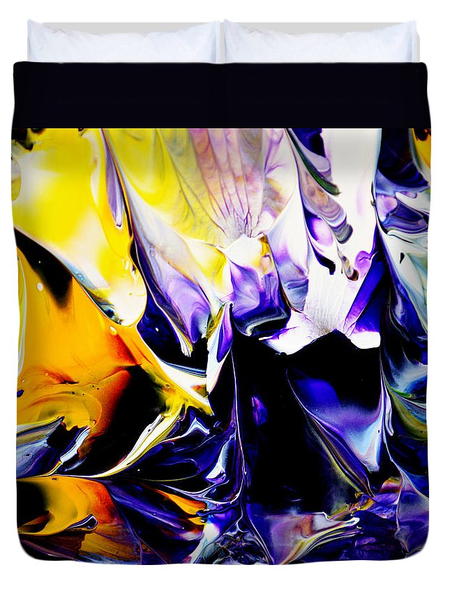 Abstract Duvet Cover featuring the painting Botanical # 1201 by Antonia Lazaki