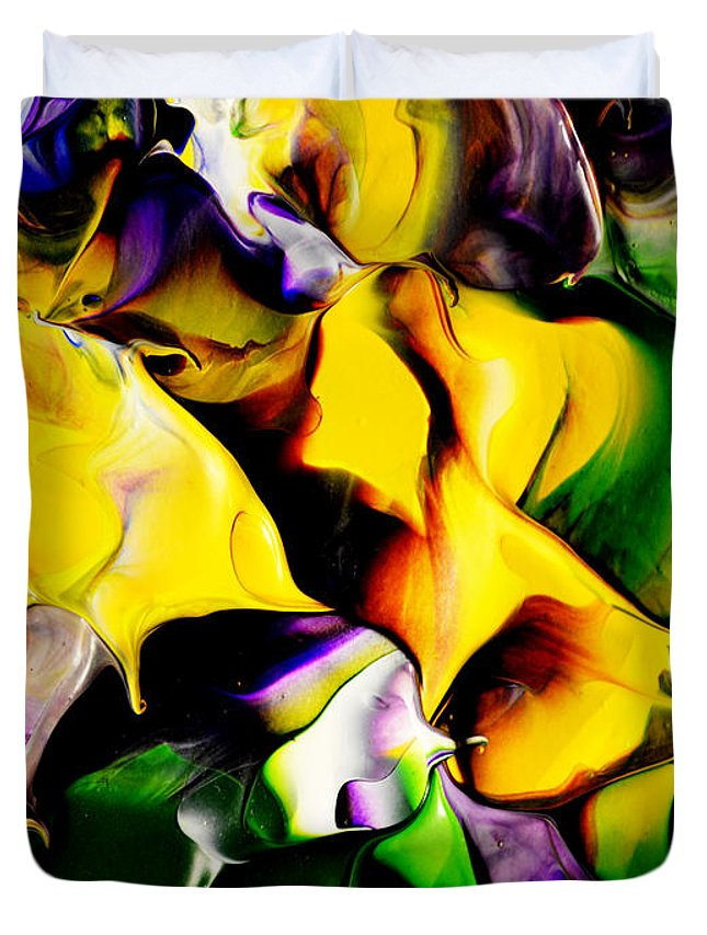Abstract Duvet Cover featuring the painting Botanical # 1211 by Antonia Lazaki