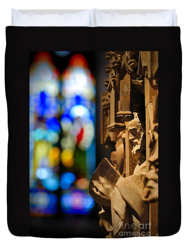 Church Duvet Cover featuring the photograph Pulpit Trinity Cathedral Pittsburgh by Amy Cicconi