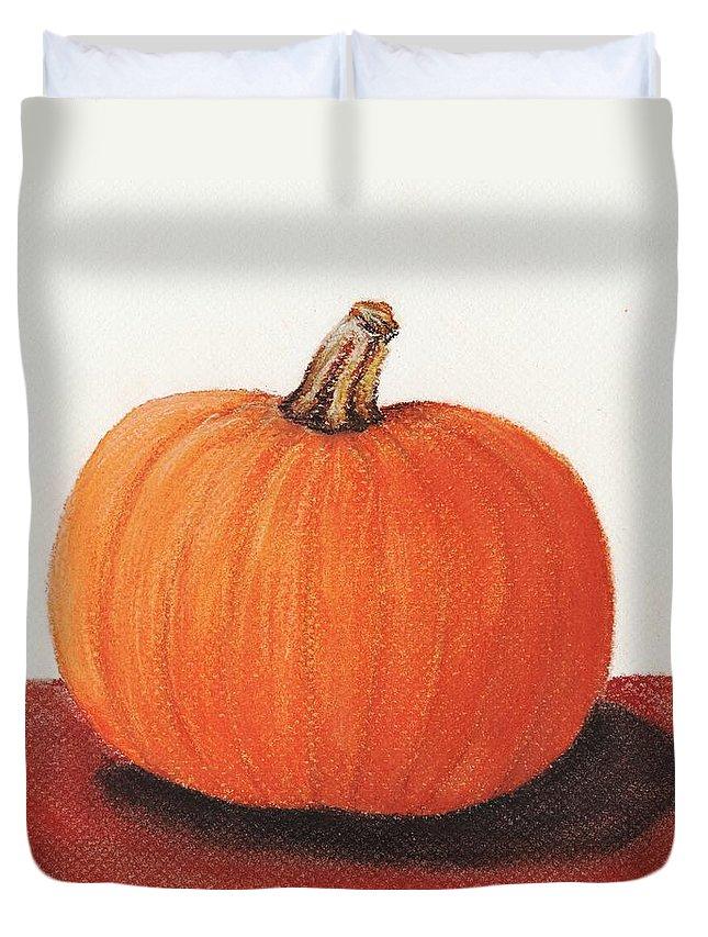 Malakhova Duvet Cover featuring the painting Pumpkin by Anastasiya Malakhova