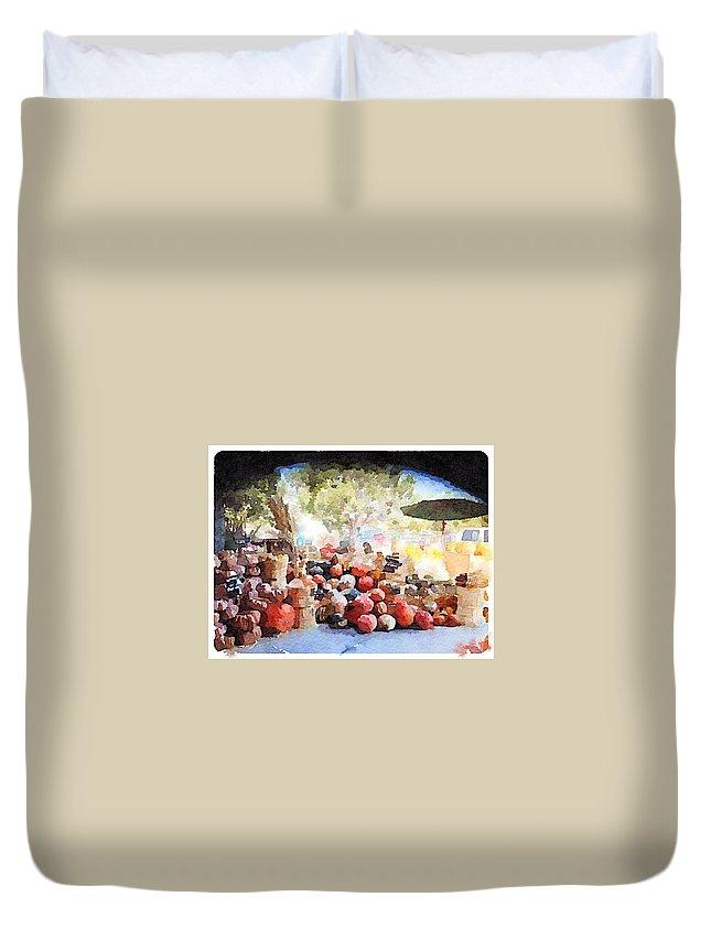 Waterlogue Duvet Cover featuring the digital art Pumpkins by Shannon Grissom
