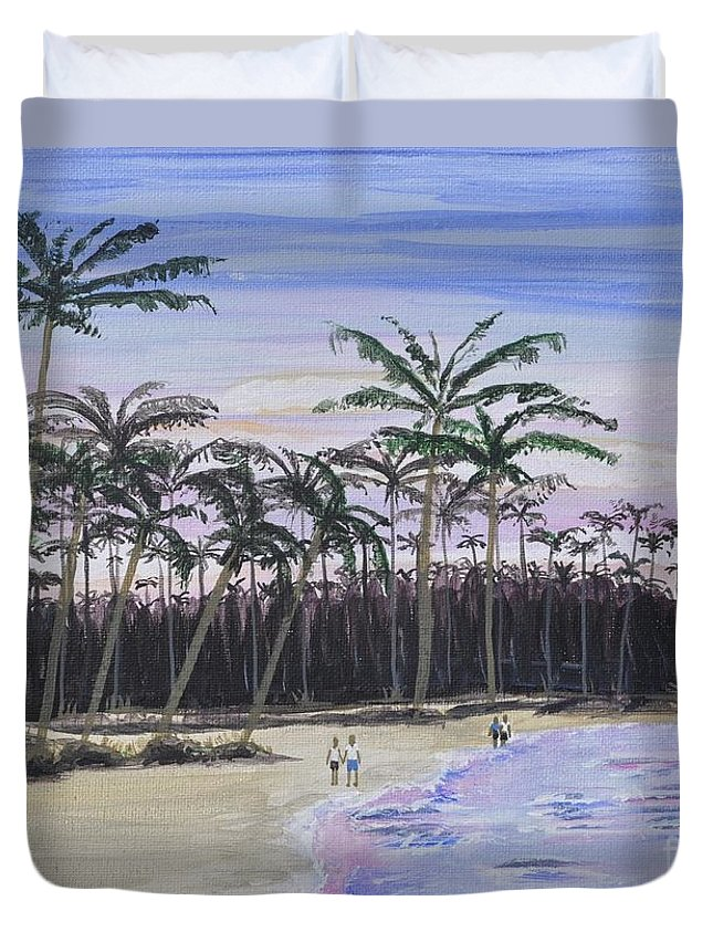 Punta Cana Duvet Cover featuring the painting Punta Cana Getaway by Sally Rice