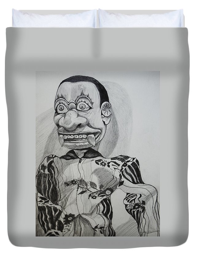 Puppet Duvet Cover featuring the drawing Puppet by Daniel P Cronin