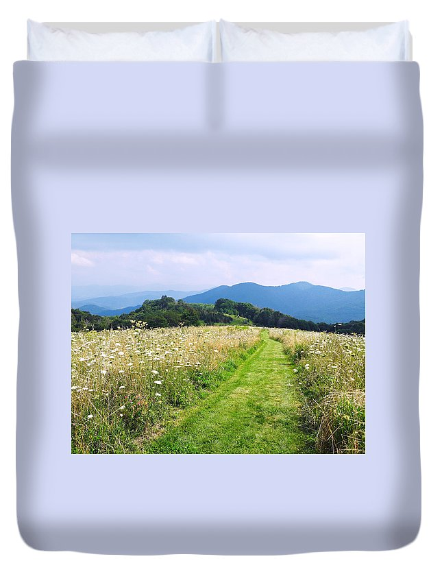 Walking Trail Duvet Cover featuring the photograph Purchase Knob by Melinda Fawver