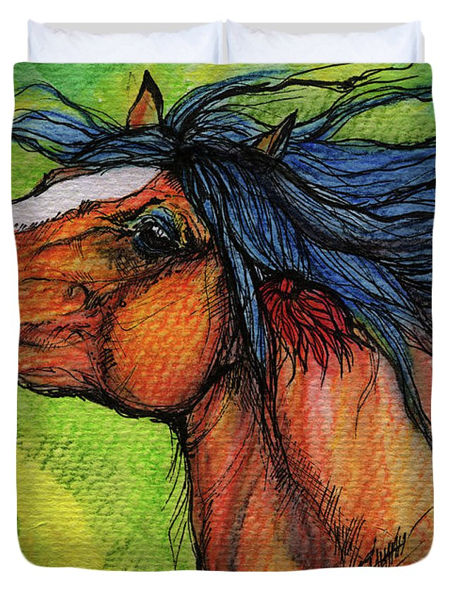 Horse Duvet Cover featuring the painting Pure Joy by Angel Ciesniarska