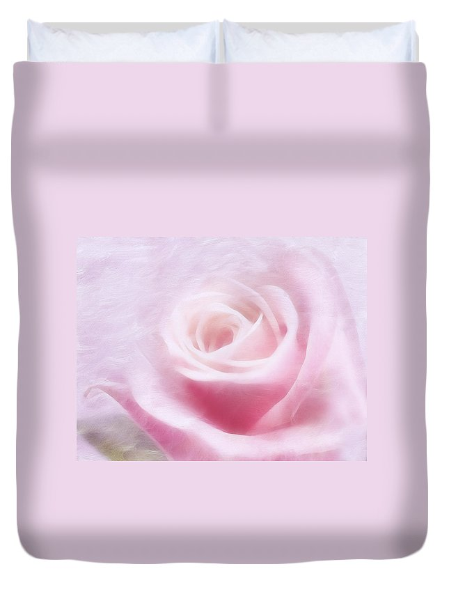 Rose Duvet Cover featuring the mixed media Purity And The Pink Rose by Georgiana Romanovna