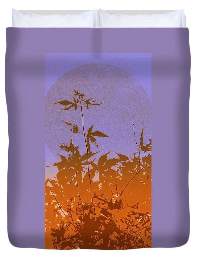 Phone Case Duvet Cover featuring the photograph Purple And Orange Haiku by Kathy Barney