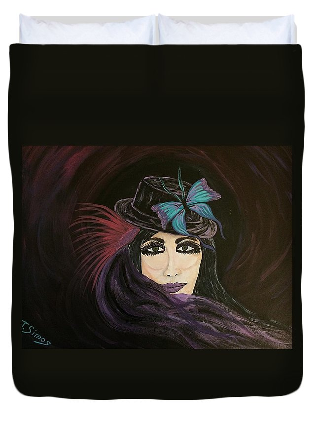 Purple Duvet Cover featuring the painting Purple Butterfly by Theresa Simos