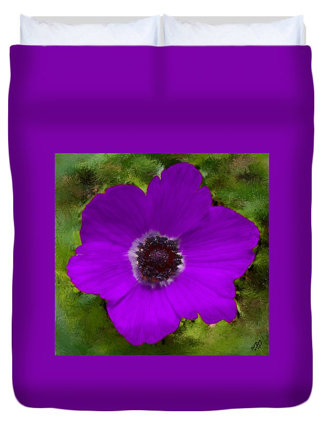 Flower Duvet Cover featuring the painting Purple Calanit Magen by Bruce Nutting