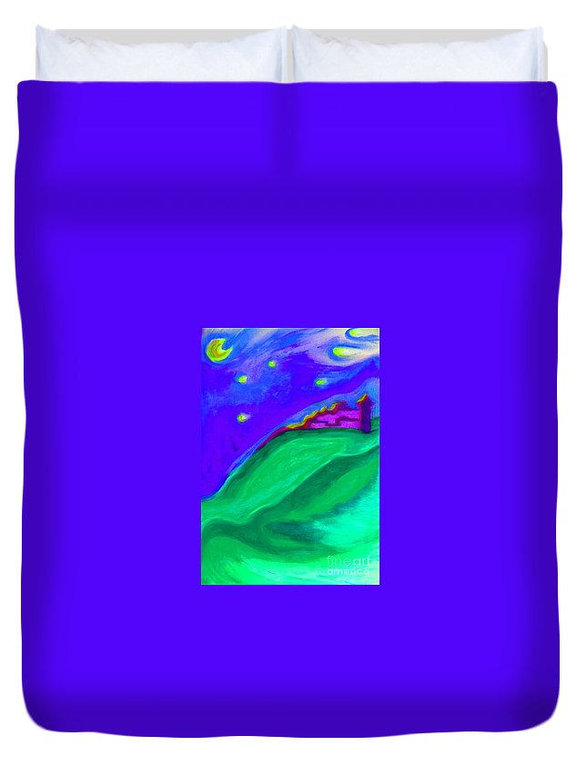 Castle Duvet Cover featuring the painting Purple Castle By Jrr by First Star Art