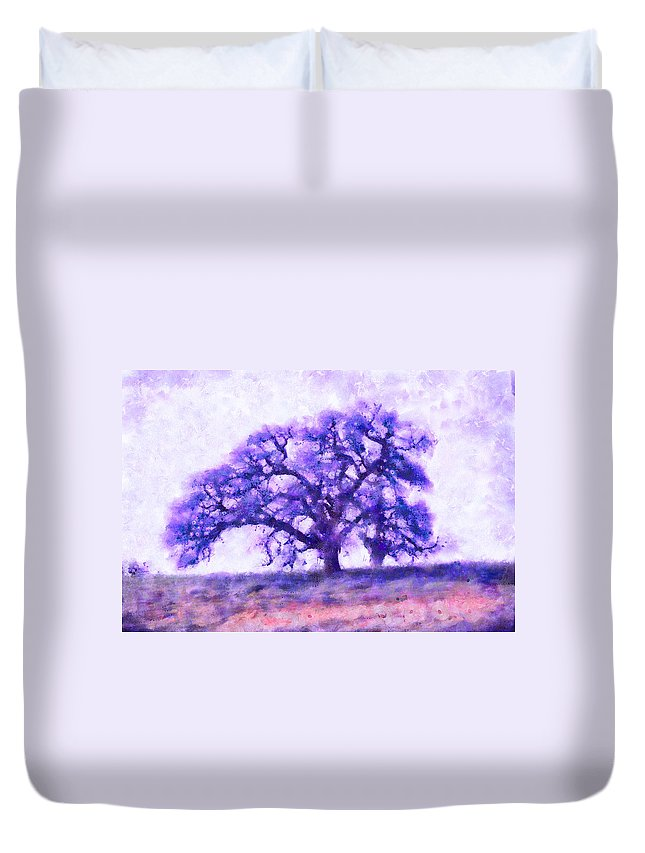 Dreamtime Oak Tree Duvet Cover featuring the mixed media Purple Dreamtime Oak Tree by Priya Ghose