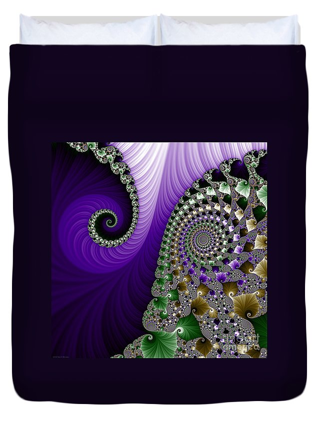 Fractal Duvet Cover featuring the digital art Purple Feathers by Mary Machare