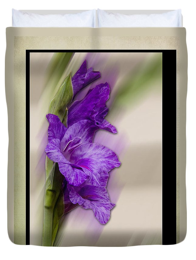 Flower Duvet Cover featuring the photograph Purple Gladiolus by Patti Deters