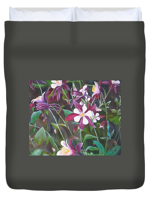 Flowers Duvet Cover featuring the painting Purple Haze by Darla Sittman