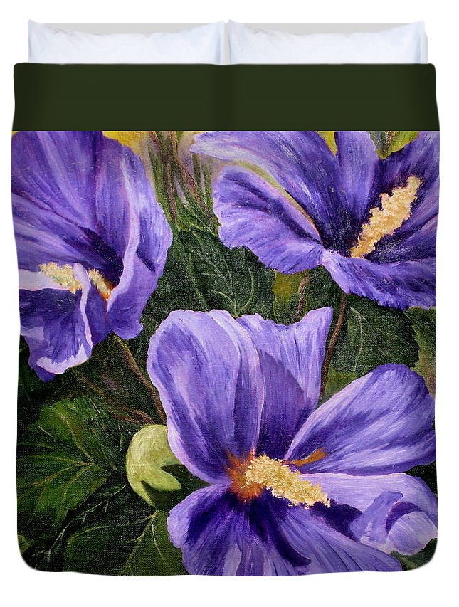 Hibiscus Duvet Cover featuring the painting Purple Hibiscus by Darla Brock
