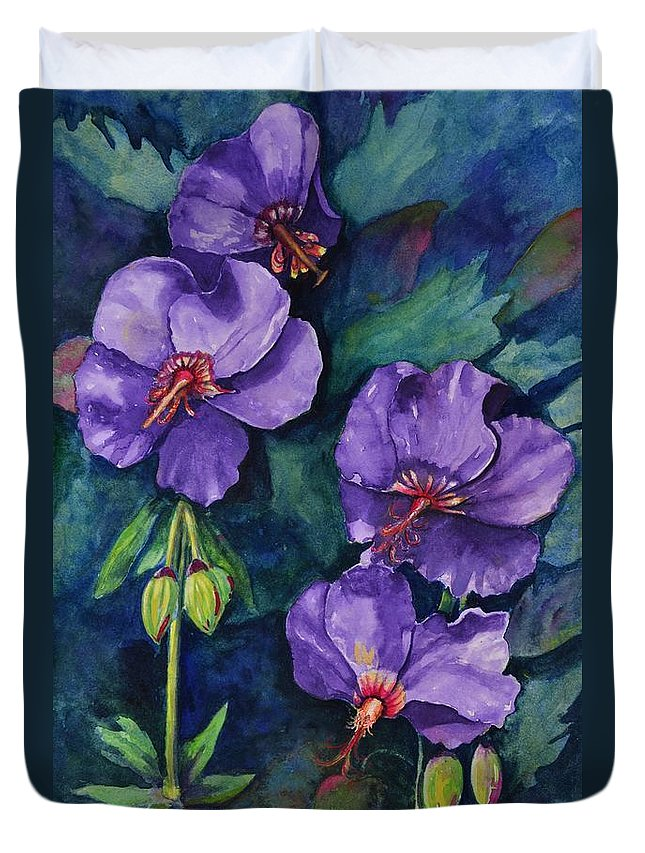 Hybiscus Duvet Cover featuring the painting Purple Hibiscus by Jane Ricker