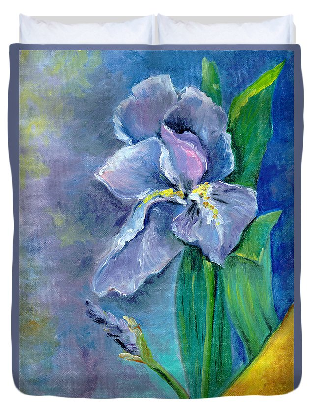 Purple Duvet Cover featuring the painting Purple Iris Blues by Barbara Beck-Azar