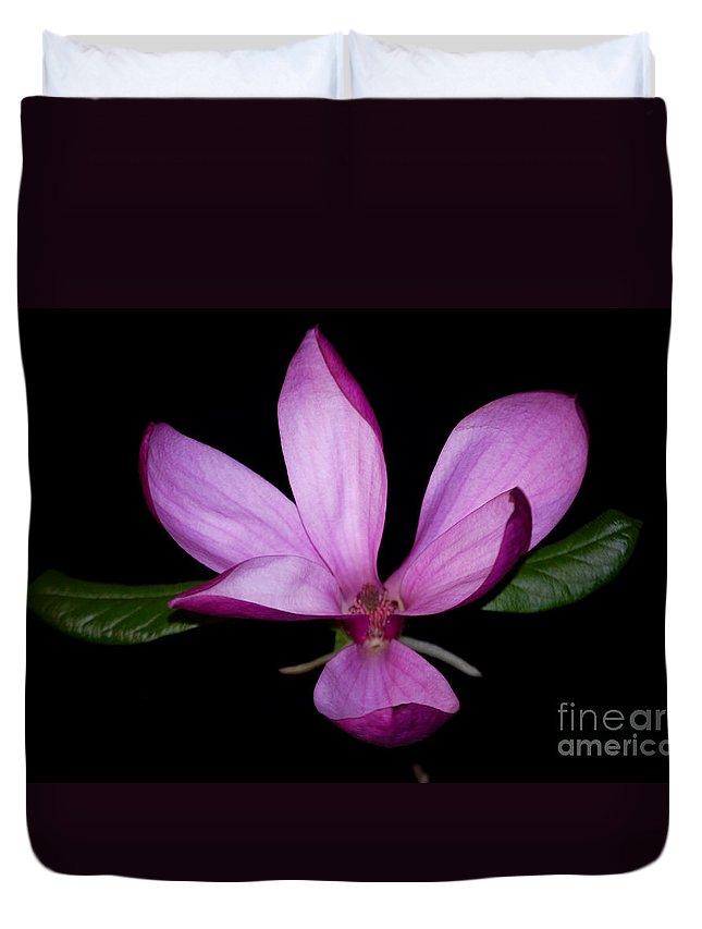 Purple Duvet Cover featuring the photograph Purple Magnolia by Nancy Bradley