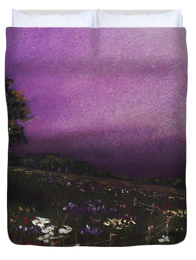 Malakhova Duvet Cover featuring the painting Purple Meadow by Anastasiya Malakhova