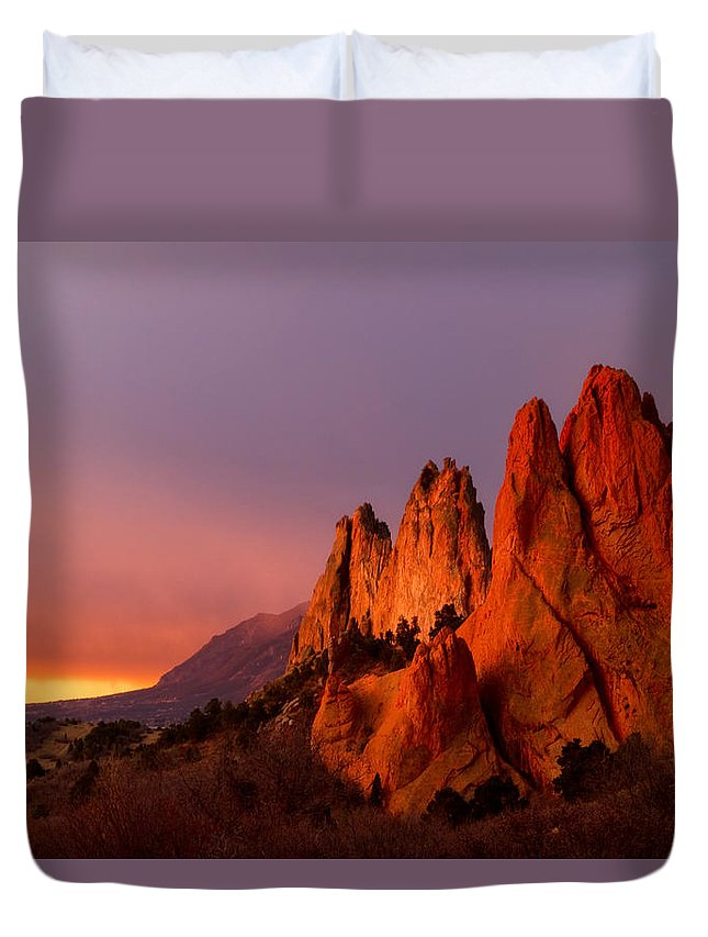 Garden Of The Gods Duvet Cover featuring the photograph Purple Morning At Garden Of The Gods by Ronda Kimbrow