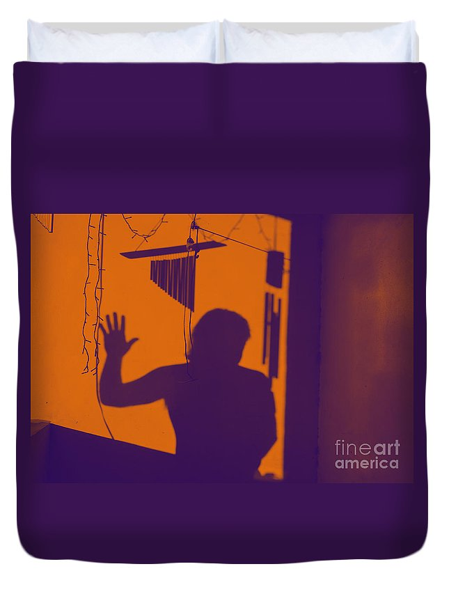 Shadow Duvet Cover featuring the photograph Purple Orange Figure Shadow by Christopher Shellhammer