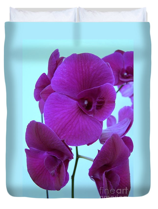 Orchid Duvet Cover featuring the photograph Purple Orchids 3 by Mary Deal