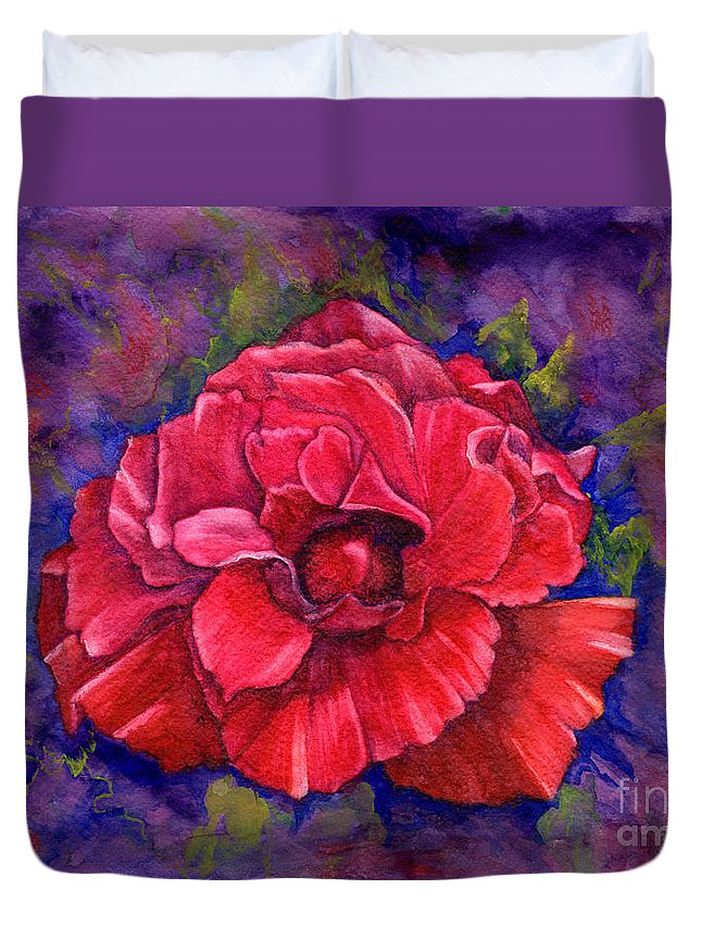 Red Rose Duvet Cover featuring the painting Purple Passion by Nancy Cupp