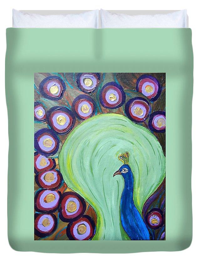 Bird Duvet Cover featuring the mixed media Purple Peacock by Kruti Shah