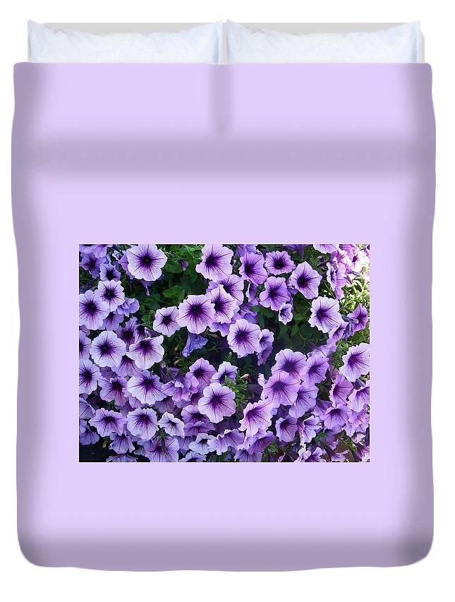Flower Duvet Cover featuring the photograph Purple Petunias by Aimee L Maher ALM GALLERY