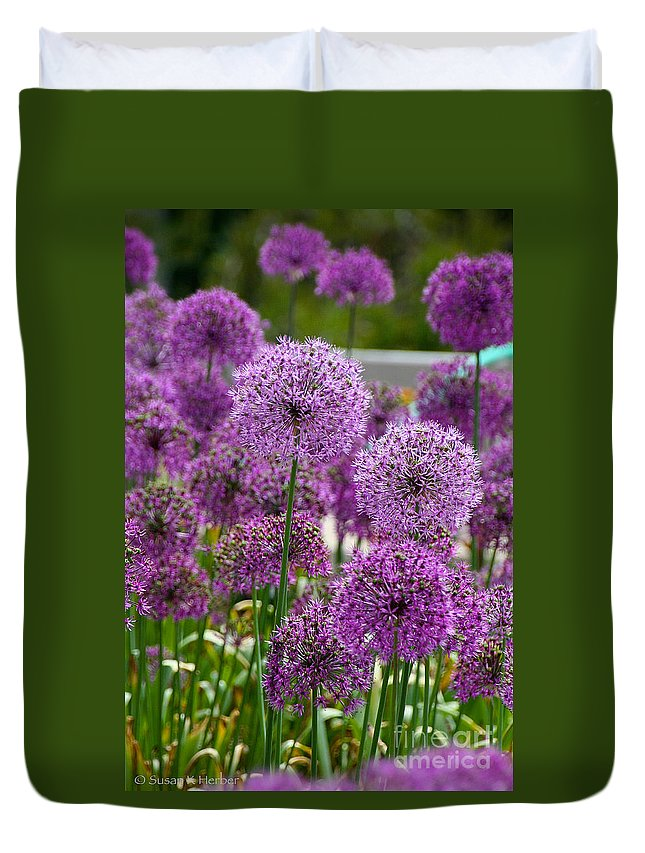 Flower Duvet Cover featuring the photograph Purple Pom Poms by Susan Herber