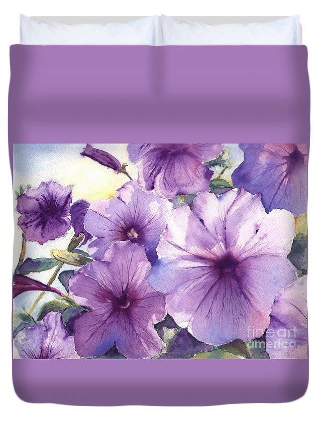 Purple Duvet Cover featuring the painting Purple Profusion by Patricia Henderson