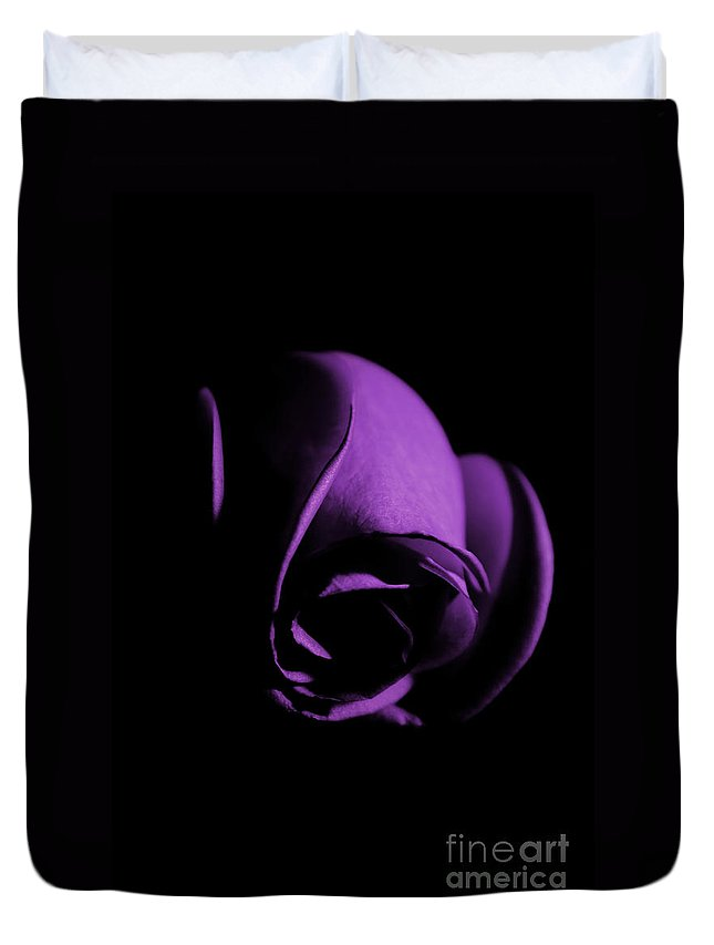 Rose Duvet Cover featuring the photograph Purple Rose Bud by Robin Lynne Schwind