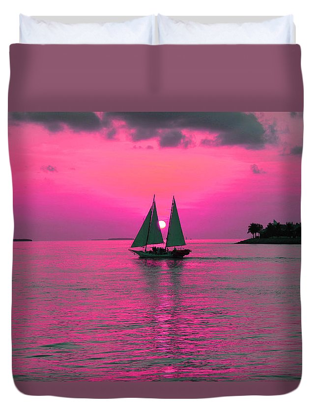 Sea Duvet Cover featuring the photograph Purple Sunset by Iryna Goodall