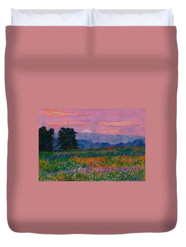 Kendall Kessler Duvet Cover featuring the painting Purple Sunset On The Blue Ridge by Kendall Kessler