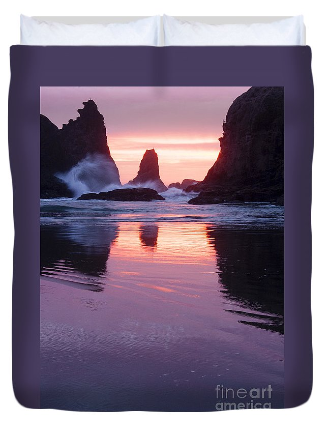 Sunset Duvet Cover featuring the photograph Purple Sunset by Vivian Christopher