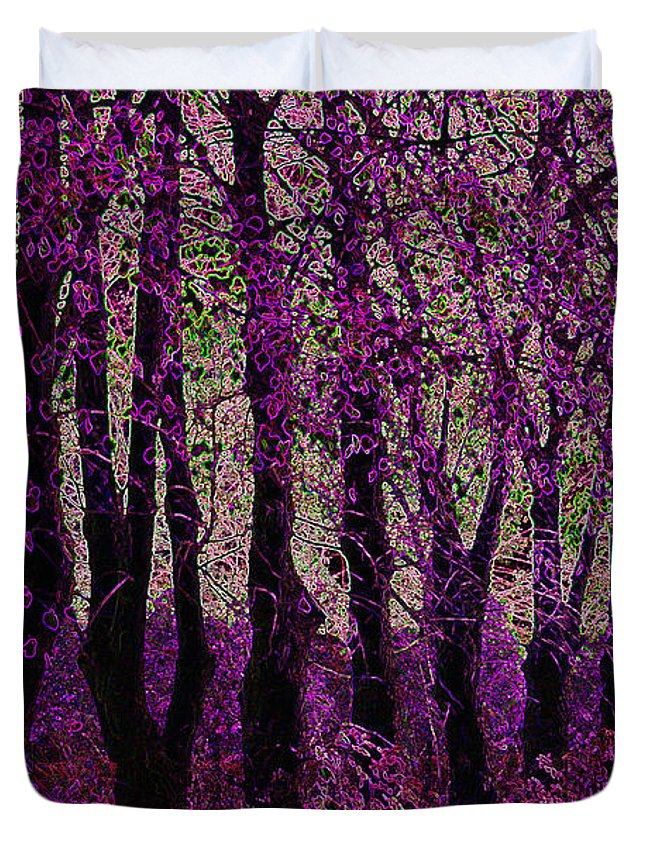 Purple Duvet Cover featuring the digital art Purple Trees by Carol Lynch