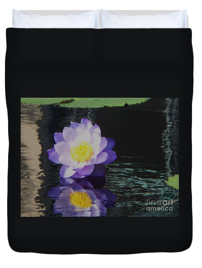 Photograph Duvet Cover featuring the photograph Purple White Yellow Lily by Eric Schiabor