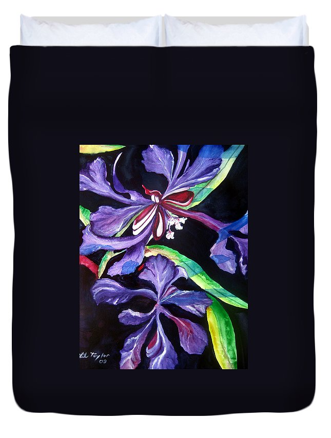 Purple Flower Duvet Cover featuring the painting Purple Wildflowers by Lil Taylor
