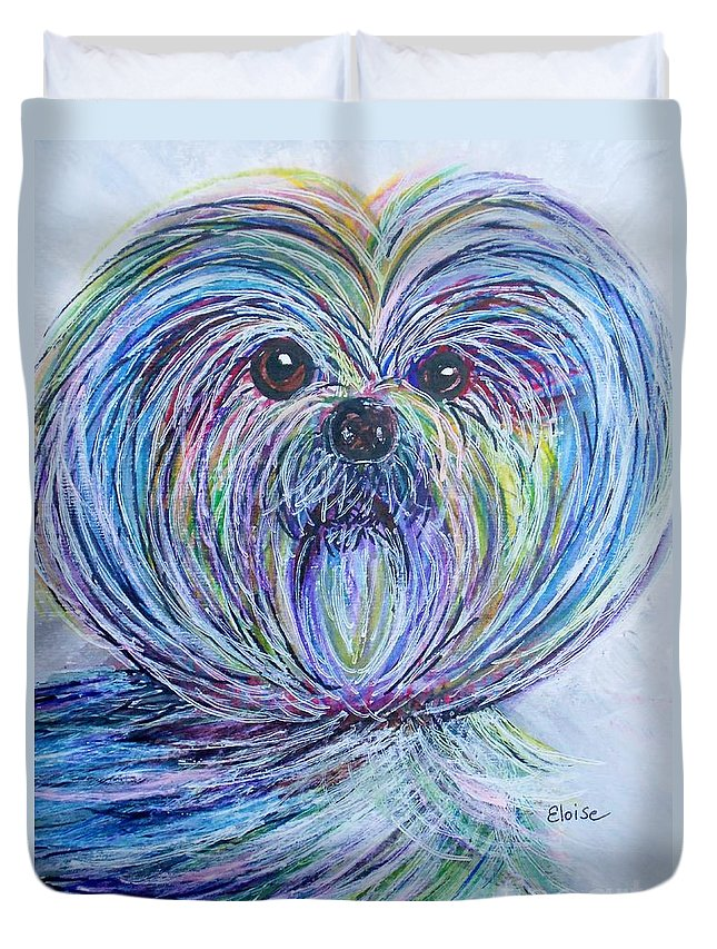 Shih Duvet Cover featuring the painting Shih Tzu by Eloise Schneider Mote
