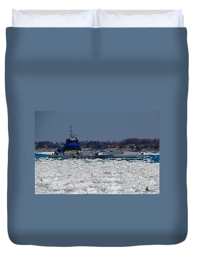 Tug Boat Duvet Cover featuring the photograph Pushing by Grace Grogan