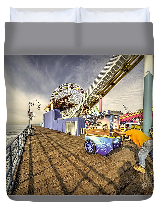 Santa Duvet Cover featuring the photograph Pushing On The Pier by Rob Hawkins