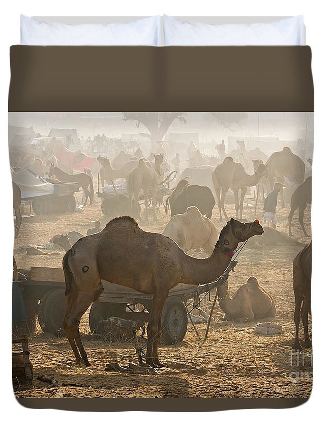 Unrecognizable Person Duvet Cover featuring the photograph Pushkar Camel Fair - India by Luciano Mortula