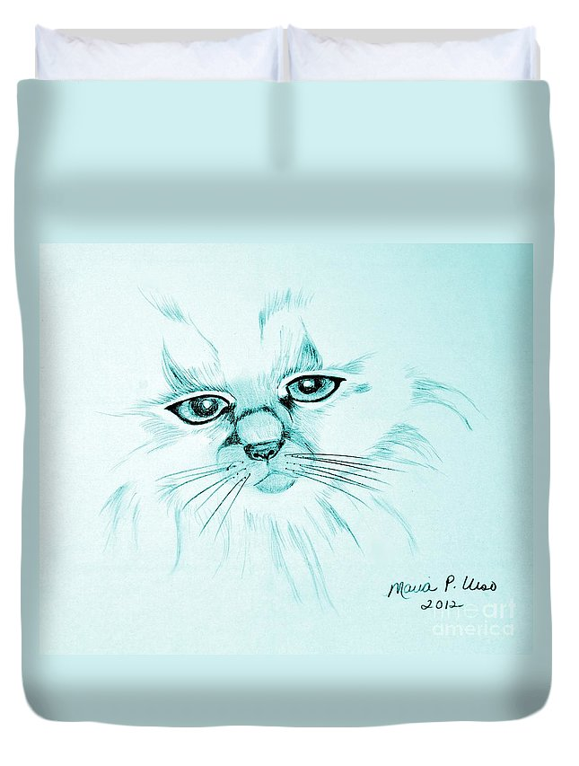 Pussycat Blues Duvet Cover featuring the drawing Pussycat Blues by Maria Urso